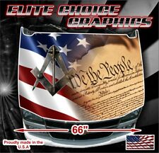 Free Mason American Flag Vinyl Hood Wrap Bonnet Decal Sticker Graphic