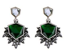 EMERALD GREEN CLEAR WHITE RHINESTONE Silver Art Deco Dangle Drop Flower Earrings
