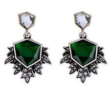 EMERALD GREEN CLEAR WHITE RHINESTONE Silver Art Deco Dangle Drop Flower Earrings