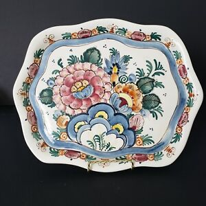 """Hand Painted Delft Polychrome Floral Platter Plate Fluted Rim 12""""x10"""" Blue Pink"""