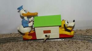 "EX! DISNEY 1936 ""LIONEL"" DONALD DUCK & PLUTO HANDCAR"" WIND-UP TOY+TRACK+ORIG.KEY"