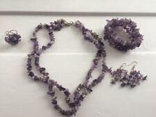 Purple Amethyst Stone Jewellery Set Necklace, Bracelet, Earrings, & Ring