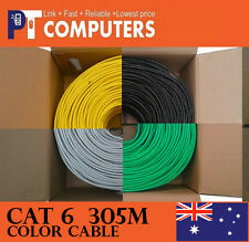 2x 305m Premiun COLOR Cat6 RJ45 Ethernet Network Cable Cord Lead 10/100/1000m