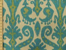 Woven Large Ikat Medallions Contemporary Modern aqua Lime Tan Upholstery Fabric