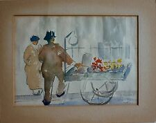 """Antique Vintage 1935 CHARLES VINICKY """"The Vendor"""" Original Watercolor Painting"""