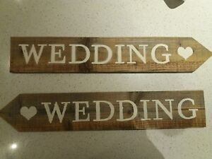 Rustic Handmade Wedding Arrow Signs with Heart Detail (Left or Right)