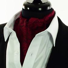 Men's Burgundy Red & Black Paisley Silk Cravat Scarve Ascot Tie Floral Scarf A13