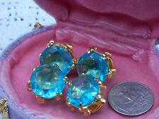 Vintage Cufflinks Mens Huge Topaz Blue Glass Stones Gold Tone Snap Statement!