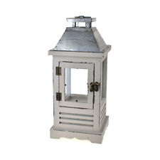 Wooden Lantern with Metal Top, Grey, 14-Inch