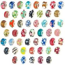 100X Assorted Lampwork Murano Glass European Beads Compatible Major Bracelets