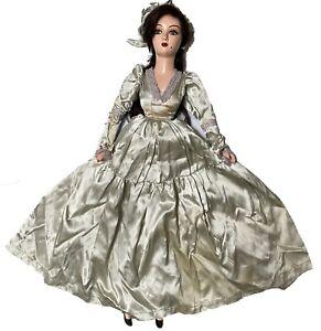 "Vintage Composition Head Beauty Mark Brunette French Boudoir Bed Doll 31"""