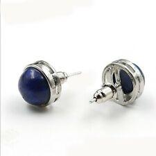 10mm Round Fire Natural Lapis Lazuli Gemstone Silver Stud Hook Earrings Women
