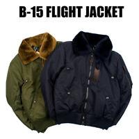 Mens B15 Flight Bomber Jacket Military Air Force Pilot Winter Warm Casual Coats