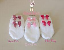 Newborn infant baby girl cotton scratch guard mittens satin mini bows Pink set