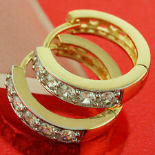 EARRINGS HOOPS HUGGIE REAL 18K YELLOW G/F GOLD DIAMOND SIMULATED DESIGN FS3AN646