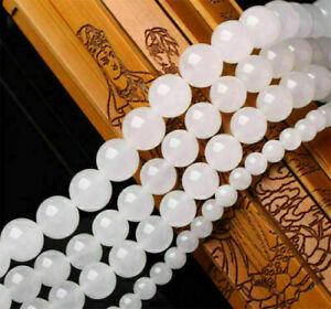 "6mm White Smooth Natural Round Jewelry Making Loose Gemstone Beads 15"""