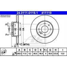 ATE 2x Bremsscheiben Voll beschichtet 24.0111-0119.1