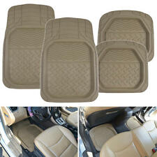 4pc Dish Rubber Floor Mats Beige All Weather Protection Water Mud Dirt Washable