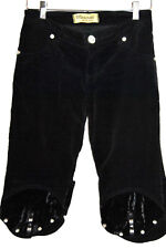 FANCY Maserati Denimwear Black Capri Pants with Crystals sz 32 UNWORN