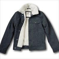 NWT Hollister by Abercrombie Men's Fur Sherpa-Lined Twill Trucker Jacket Coat