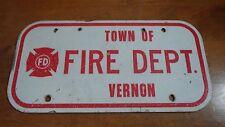 VINTAGE VERNON CONNECTICUT  FIRE DEPARTMENT LICENSE PLATE TOPPER