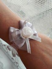 Flower Bow Wrist Corsage Bracelet Wedding Prom Party Bridesmaid Decor silver UK