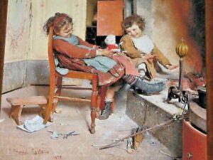 Joys of Childhood by Gaetano Chierici 1838-1920 Italian Artist Framed Print