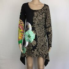 Desigual Black Muticolour Print Embellished Asymmetrical Dress Size S 10 (BC16)