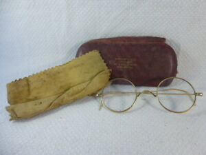 Antique Gold Rimmed Reading Spectacles with Case and 'Magic Lens Cleaner' Cloth