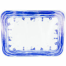 40 cm x 30cm vetro cucina piano di lavoro Saver PROTECTOR BLU BIANCO BARCA Tagliere