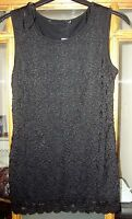 LADIES BLACK LACE BODYCON VEST TOP IN SIZE 10 AND 12 BNWT