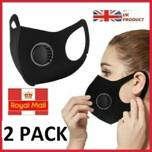 Pack of 2 Reusable Washable Breathable Valve  Face Mask Black - UK STOCK