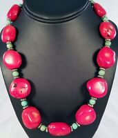Chunky Red Bamboo Coral Nugget & Turquoise Bead Sterling Silver Clasp Necklace