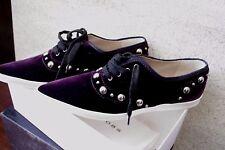 Marc Jacobs Italy Dark Purple Velvet Women Shoes Lace Up Flats Size:38
