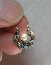 Victorian Turquoise Earrings Pearl 10K Gold Antique c1880 Wreath Belle Epoque