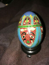 Vintage ceramic easter egg with gold trim, very cool awesome egg 00004000