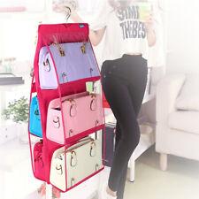 6 Pockets Hanging Bag Handbag Organizer Rack Wardobe Storage Holder Door Wall