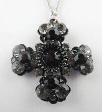 Vintage Black Enamel Silver/Black Rhinestone Ornate Maltese Pendant Necklace