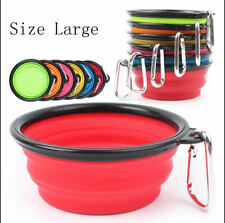 1 LARGE COLLAPSIBLE DOG WATER BOWL 7 INCHES PORTABLE SILICON TRAVEL PET BOWL