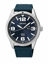 Mens Seiko Solar Military Blue Nylon Canvas Band Day Date Casual Watch SNE329