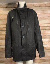 Guess Zip Cotton Polyurethane Bomber Jacket Gray Windowpane Rain Repellent Sz L