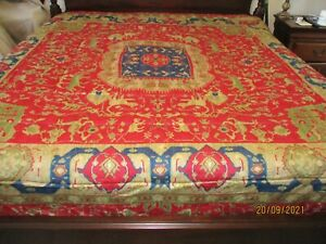 Ralph Lauren Dignitary ESTATE Conservatory Comforter FULL/QUEEN RUG RED BLUE