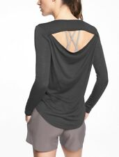 Athleta Breezy Long Sleeve Shirt Top Black Shirt Size Large New $64