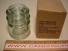 Victor Bernard Lot of 24 vintage glass pin insulators. NOS. Individually boxed