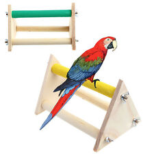 Pet Parrot Bird Wooden Perch Stand Rack Play Toys Training Activity Playstand
