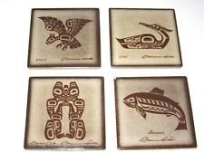 New listing Lot of 4: Clarence Wells Coasters (Loon,Eagle,Bear Cub,Salmon)