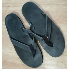 Rainbow Mens Sandals Size 13 Single Layer Classic Leather w/ Arch Support Black