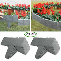 20pcs Home Garden Border Edging Plastic Fence Stone Lawn Yard Flower Bed US SHIP