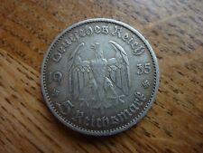 1935D Germany Nazi Swastika Potsdam Church 5 Mark Silver Coin (ref36/D)