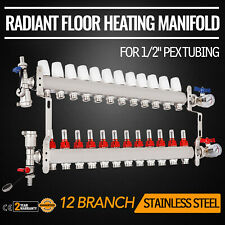 Vevor 12 Branchloop Pex Radiant Floor Heating Manifold Set Stainless Steel